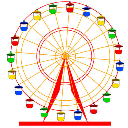 Silhouette atraktsion colorful ferris wheel. Vector  illustration. Illustration