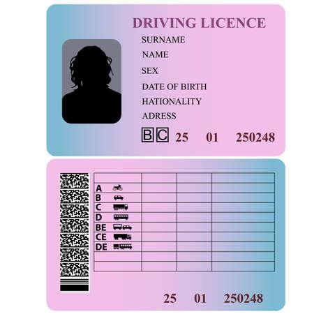 Prawo jazdy kobietę. Ilustracji wektorowych.