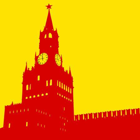 kremlin: Moscow, Russia, Kremlin Spasskaya Tower with clock, silhouette, vector illustration.