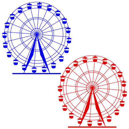 Silhouette atraktsion colorful ferris wheel. Vector  illustration. Ilustração