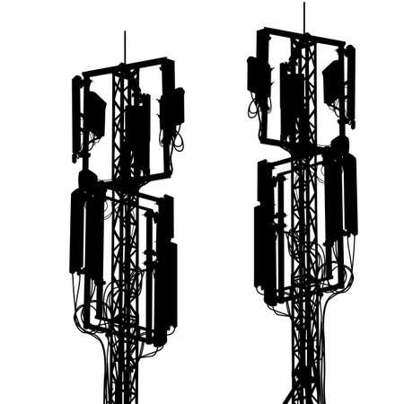 microwave antenna: Las comunicaciones m�viles de antena m�stil silueta. Ilustraci�n del vector.