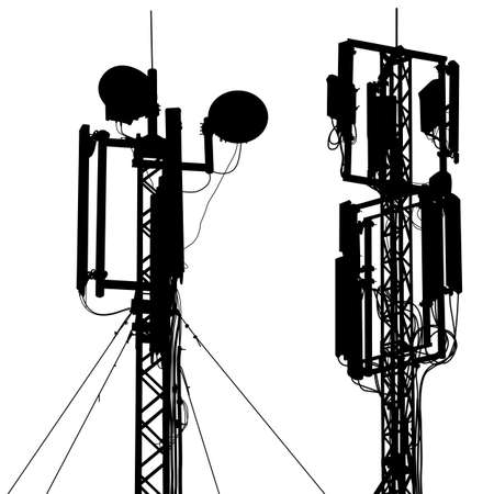 Silhouette mast antenna mobile communications. Vector illustration. Çizim