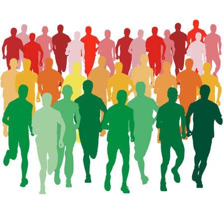Set of silhouettes. Runners on sprint, men. vector illustration. Vector