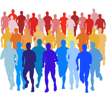 cuerpo hombre: Conjunto de siluetas. Corredores en el sprint, hombres. ilustraci�n vectorial.