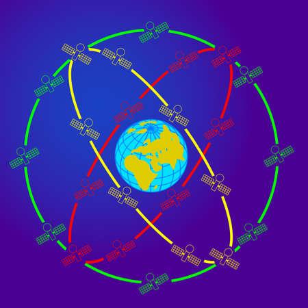 orbits: space satellites in eccentric orbits around the Earth. Illustration