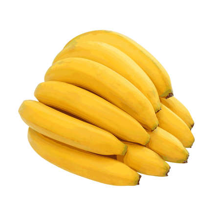 close up food: Bunch of bananas isolated on white background. Vector illustration.