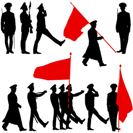 militia: Silhouette  military people  with flags collection.  Vector illustration.