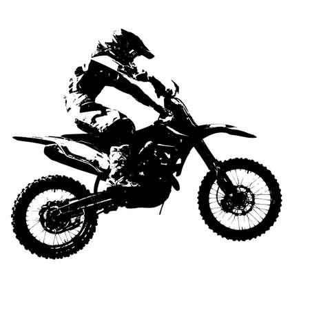 Rider participe championnat motocross. Vector illustration. Vecteurs
