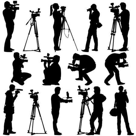 Cameraman with video camera. Silhouettes on white background. Vector illustration. Stock Illustratie