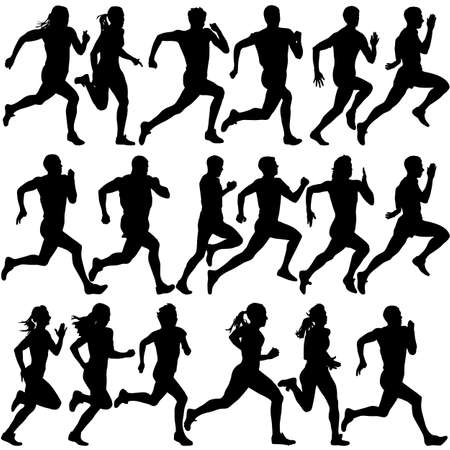 silueta hombre: Conjunto de siluetas. Corredores en el sprint, hombres. ilustración vectorial.