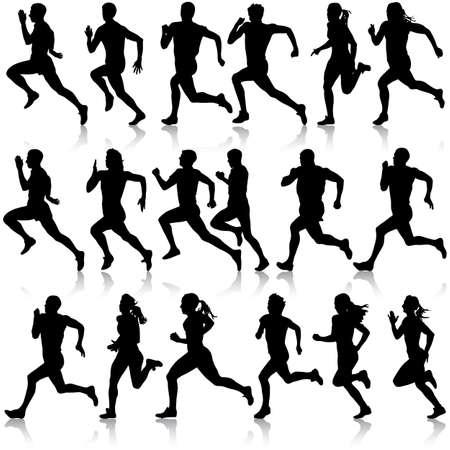 silueta: Conjunto de siluetas. Corredores en el sprint, hombres. ilustración vectorial.