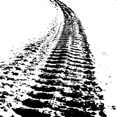truck road: Grunge background with black tire track. Vector illustration. Illustration
