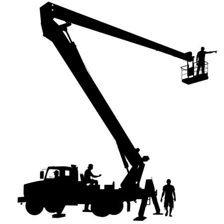 safety harness: Electrician, making repairs at a power pole. Vector illustration.