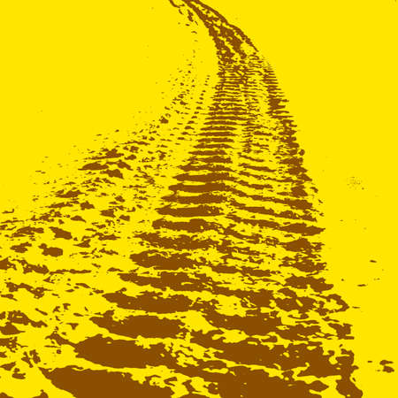 Yellow grunge background with black tire track. Vector illustration. Vector