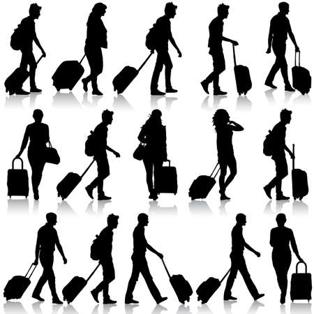 mujer con maleta: Siluetas negras viajeros con maletas en el fondo blanco. Ilustración del vector. Vectores