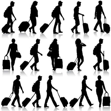 Zwarte silhouetten reizigers met koffers op een witte achtergrond. Vector illustratie.