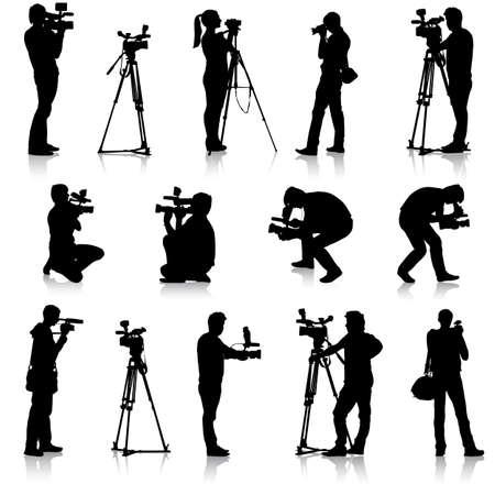 Cameraman met videocamera. Silhouetten op een witte achtergrond. Vector illustratie.