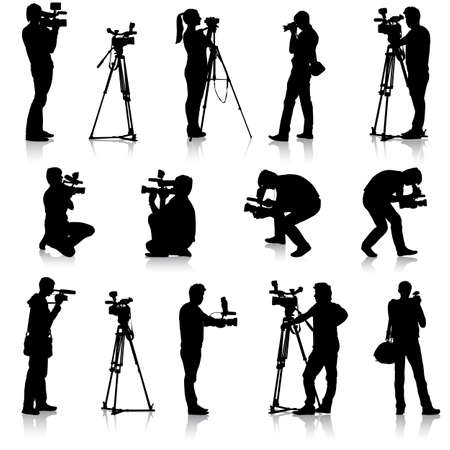 Cameraman with video camera. Silhouettes on white background. Vector illustration. Ilustração