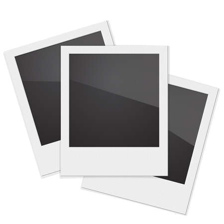 Set Retro Photo Frame  On White Background. Vector illustration