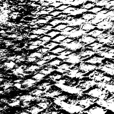 Grunge background with black tire track. Vector illustration. Illustration