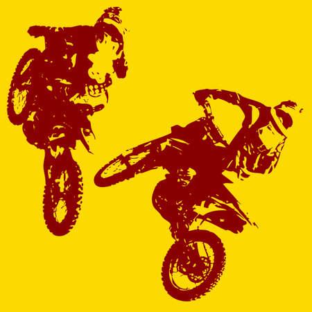 motorsports: Rider participates motocross championship.  Vector illustration.