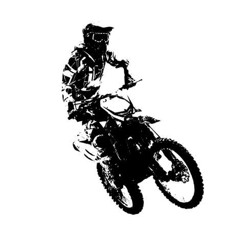 jinete: Jinete participa campeonato de motocross. Ilustración del vector. Vectores