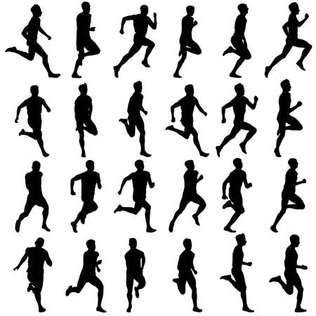 silueta hombre: Conjunto de siluetas. Corredores en el sprint, hombres. ilustraci�n vectorial.