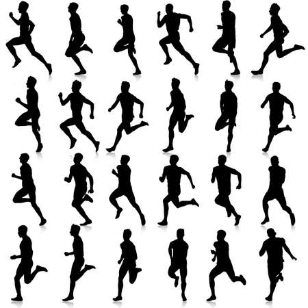 runner: Set of silhouettes. Runners on sprint, men. vector illustration.