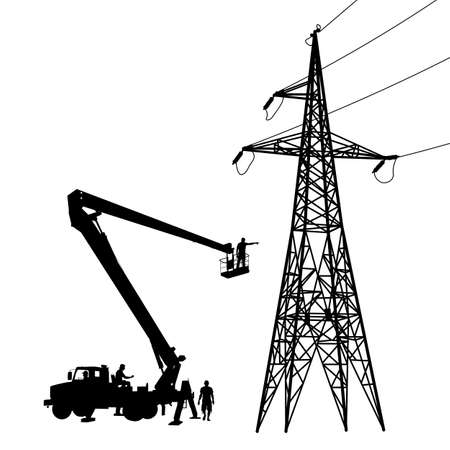 electricity pole: Electrician, making repairs at a power pole. Vector illustration.