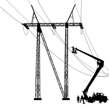electrician: Electrician, making repairs at a power pole. Vector illustration.