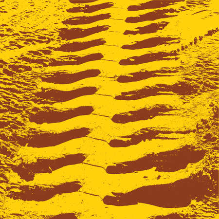 skidding: Yellow grunge background with black tire track. Vector illustration.