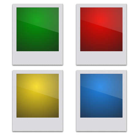Set Color Retro Photo Frame  On White Background. Vector illustration