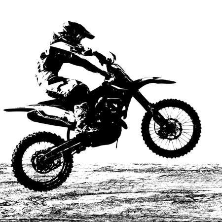 Ruiter participeert motorcross kampioenschap. Vector illustratie.