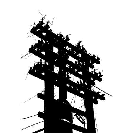 telephone pole: Old decrepit wooden telephone pole on  white background. Vector illustration.