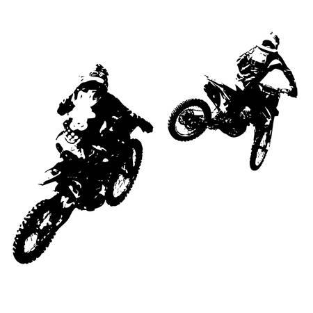 motorcross: Rider participates motocross championship.  Vector illustration.