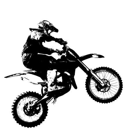 dirt bike: Rider participates motocross championship.  Vector illustration.