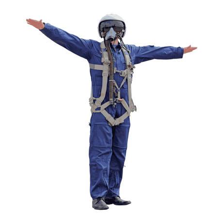 piloto de avion: Hombre vestido de un piloto sobre un fondo blanco. Ilustraci�n del vector.