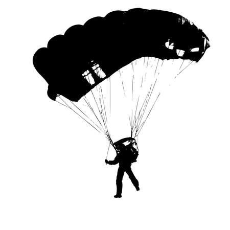 jump shot: Parachutist Jumper in the helmet after the jump. Vector illustration.