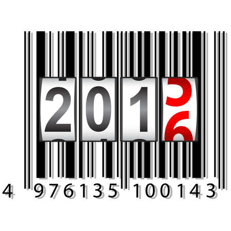 2016 New Year counter, barcode, vector illustration.