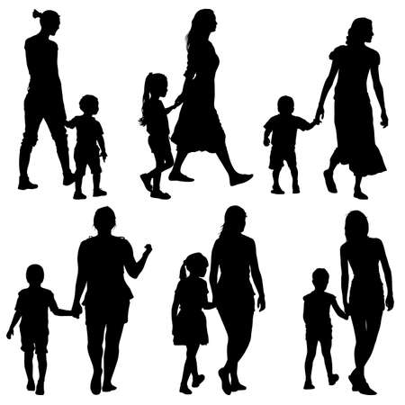 mom: Black silhouettes Family on white background. Vector illustration. Illustration