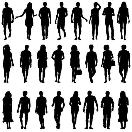silueta hombre: Siluetas negras de hermosas mans y la mujer en el fondo blanco. Ilustraci�n del vector.