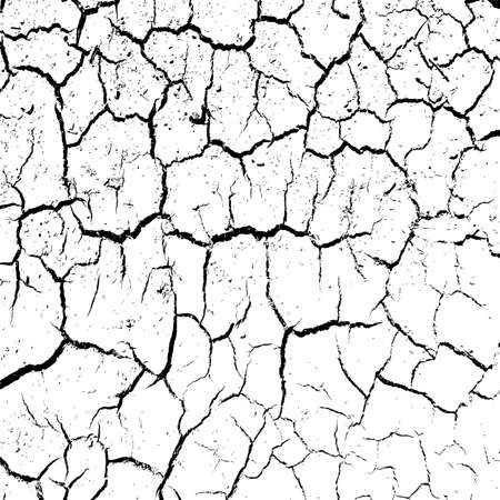 waterless: cracked clay ground into the dry season. Vector illustration. Illustration