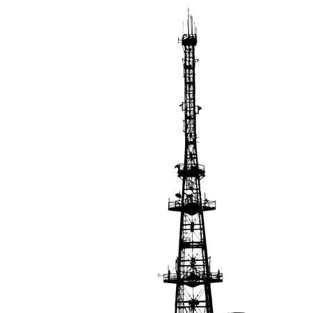 cell phone transmitter tower: communications tower for tv and mobile phone signals. Vector illustration.
