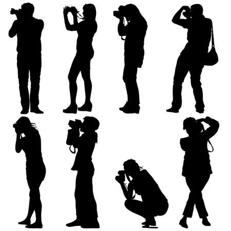 video shooting: Cameraman with video camera. Silhouettes on white background. Vector illustration. Illustration