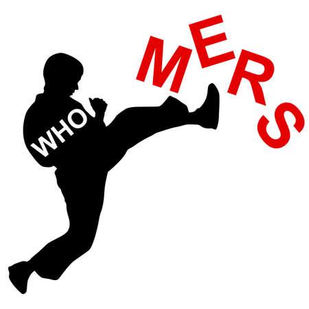 the bacteria signal: Karate wins Mers Corona Virus sign.  Vector Illustration.