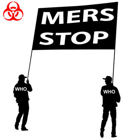 corona: People carry a poster Stop Mers Corona Virus sign.  Vector Illustration. Illustration