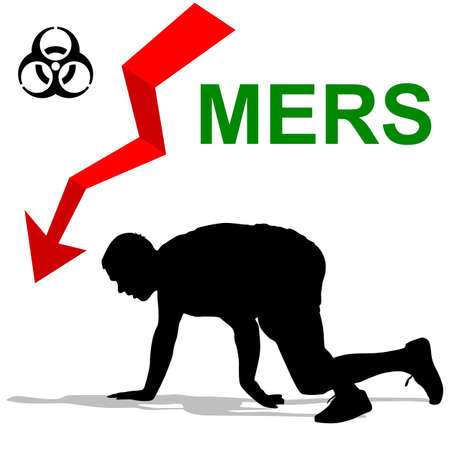 struck: Man struck  Mers Corona Virus sign.  Vector Illustration.