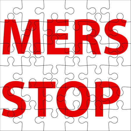 corona: Background  puzzle Stop Mers Corona Virus sign.  Vector Illustration.