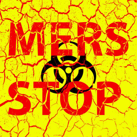 corona: Background cracks Stop Mers Corona Virus sign.  Vector Illustration.