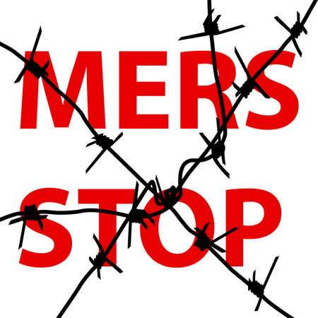 corona: Background barbed wire Stop Mers Corona Virus sign.  Vector Illustration.